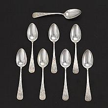 George W. Shiebler & Co. Sterling Silver, 8 Tea Spoons, Retailed by Theodore B. Starr, ca. Early 20th Century