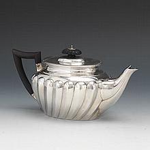 English Victorian Sterling Silver Teapot by William Hutton & Sons, London, dated 1891