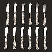 "Tiffany and Co. Sterling Silver ""Kings Pattern"" 12 Butter Knives, ca. 20th Century"