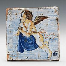 Hand Painted Tile, Possibly Italian, ca. 19th Century or Earlier