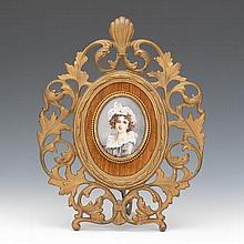 French Portrait on Porcelain after Louise Élisabeth Vigée Le Brun, ca. 19th Century