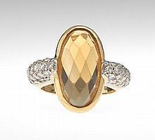 Ladies' Citrine and Diamond Ring