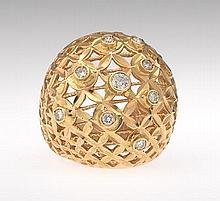 Ladies' Gold and Diamond Dome Ring