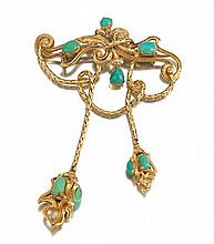 Victorian Gold and Turquoise Brooch, In Original Box