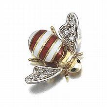 Gold, Diamond and Enamel Bee Brooch