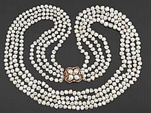 Ladies' Biwa Pearl and Diamond Necklace