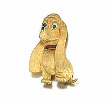 Ladies' Gold Dog Brooch