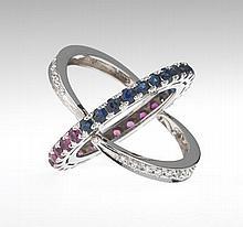 Ladies' Ruby, Sapphire and Diamond Flip Ring