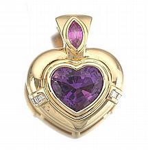 Ladies' Amethyst and Diamond Heart Pendant