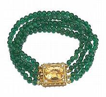 Ladies' Citrine and Aventurine Quartz Bracelet