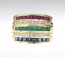 Ladies' Gold and Gemstone Ring