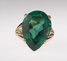 Ladies' Gold and Green Stone Ring