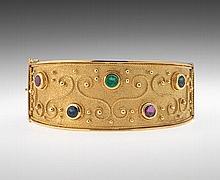 Ladies' Gold and Gemstone Bangle Bracelet