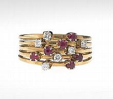 Ladies' Ruby and Diamond Ring Cluster