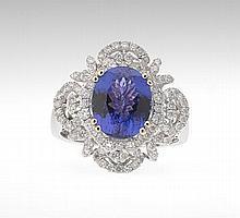 Ladies' Tanzanite and Diamond Ring