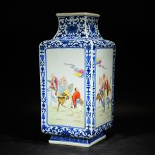 QIANLONG MARK, A BLUE AND WHITE FEMILLE ROSE FIGURAL SQUARE VASE