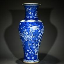 QING D., QIANLONG MARK, TWO DRAGONS AND PEONY VASE