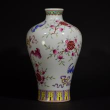 QIANLONG MARK, A FAMILLE ROSE MEIPING VASE