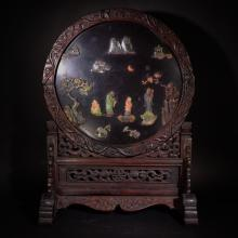 REPUBLIC PERIOD, A CARVED GEM-INLAID RED WOOD SCREEN