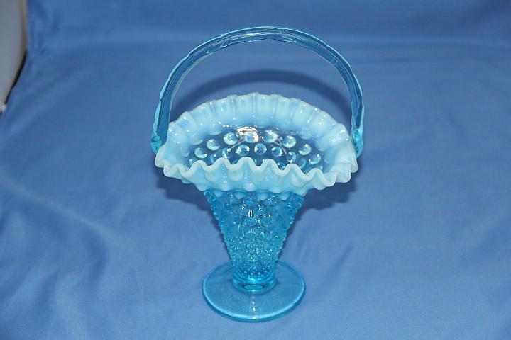 FENTON HOBNAIL BLUE OPALESCENT BASKET