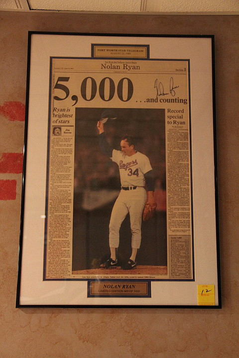Original Paper Star Article Signed by Nolan Ryan. Framed. w/COA