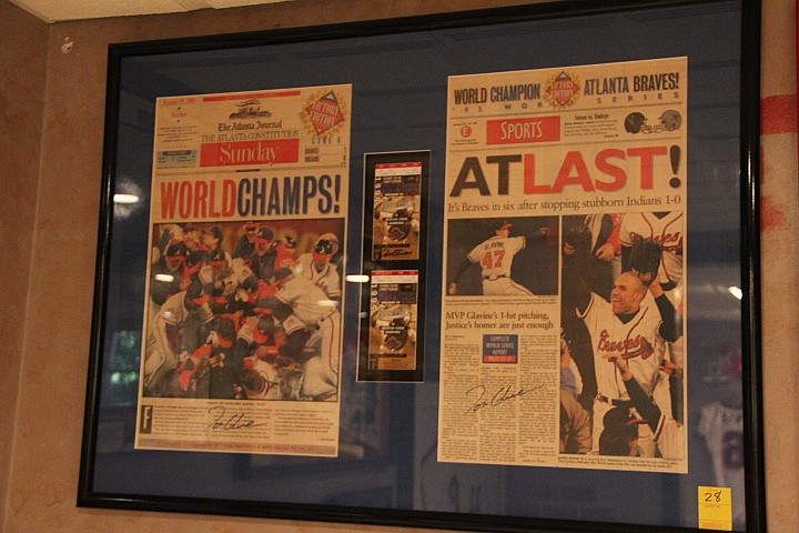 Braves World Champs Season Tickets- Game 2 & Game 6 Signed by Glavine & Framed Sports Articles AJC.
