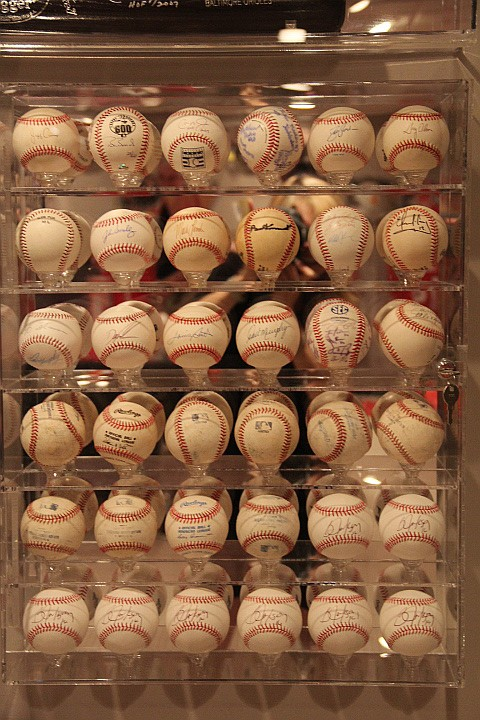 36 Signed Baseballs in Lucite Case. w/COA