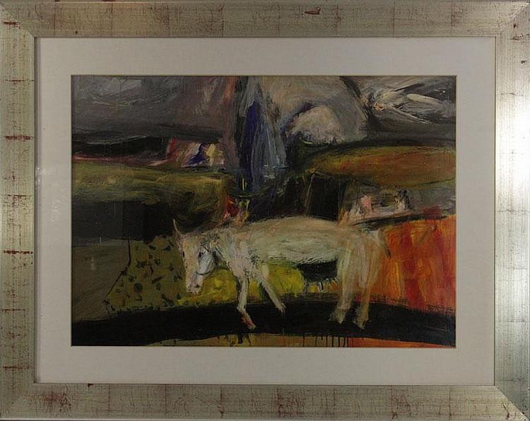 Nael Hanna (Iraqi, b.1959),'Mysterious Cow', oil