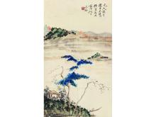 Huang Bin (1865-1955) landscape imitation per person