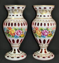 LARGE PAIR OF BOHEMIAN GLASS CUT TO CLEAR