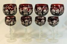 SET OF 8 BOHEMIAN CRANBERRY CUT TO CLEAR GOBLETS