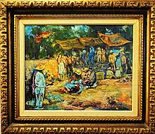 JOHN T. VIGNARI 'MARKET DAY' LANDSCAPE OIL/CANVAS