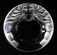 LALIQUE FRANCE 'TETE DE LION' CRYSTAL ASH TRAY
