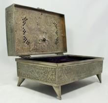 MID CENTURY SILVER PLATED HINGED MUSIC BOX