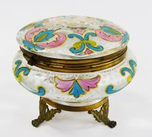 BOHEMIAN ENAMELED GLASS DRESSER BOX