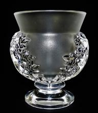 LALIQUE FRANCE MOLDED CRYSTAL 'ST. CLOUD' VASE