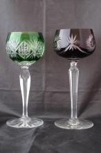 PAIR OF VINTAGE BOHEMIAN CUT TO CLEAR GOBLETS