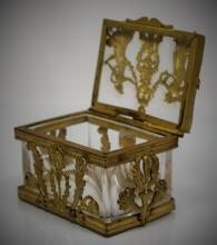 ANTIQUE FRENCH BRONZE & CRYSTAL NOUVEAU BOX