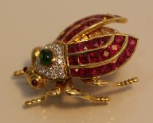 18KT GOLD DIAMOND EMERALD & RUBY MECHANICAL BEETLE