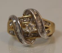 SPECTACULAR LADIES 14KT YG AND 1CT DIAMOND RING
