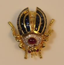 18KT YG DIAMOND SAPPHIRE & RUBY MECHANICAL BEETLE