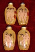 4 CHINESE REVERSE PAINTED EROTIC SNUFF BOTTLES