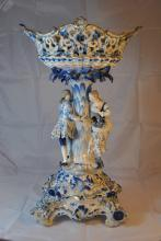 HUGE ANTIQUE MEISSEN FIGURAL COMPOTE WITH BASE