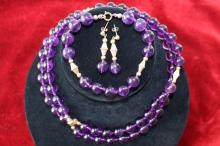 CHINESE 14KT GOLD & AMETHYST FABULOUS SUITE