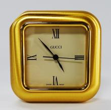 SMALL GUCCI TRAVELING CLOCK SWISS MADE GOLD TONE
