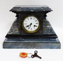 HEAVY SLATE MANTLE CLOCK WITH KEY