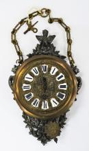 ANTIQUE FRENCH BRASS HANGING WALL CLOCK