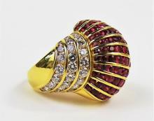 LADIES 18KT YG RUBY & DIAMOND COCKTAIL RING