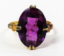 LADIES 18KT YELLOW GOLD ART DECO RUBY RING