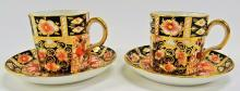PAIR OF ROYAL CROWN DERBY BONE CHINA CUP & SAUCER